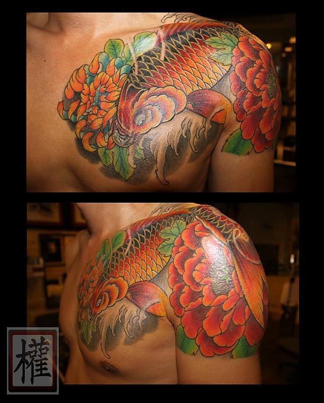 Koi and Flowers Tattoo