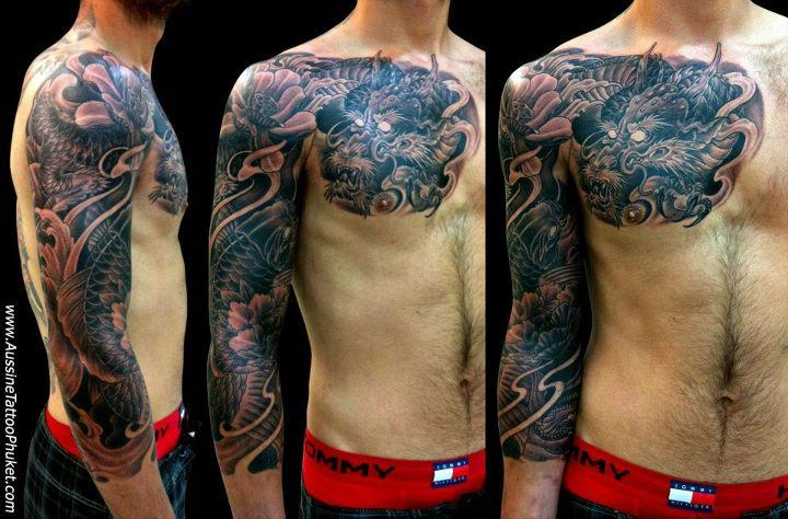 Chest to Sleeve Grey Wash Japanese Tattoo