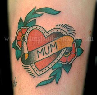 Traditional Mum heart tattoo