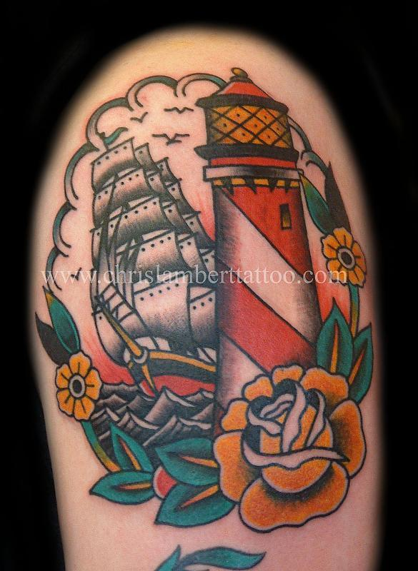 Traditional Light house and galleon tattoo