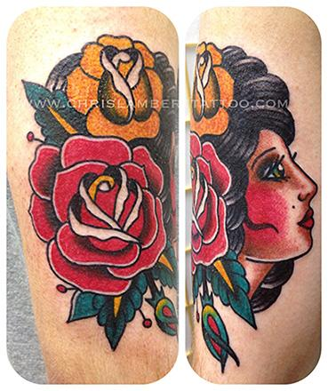 Girl head with roses