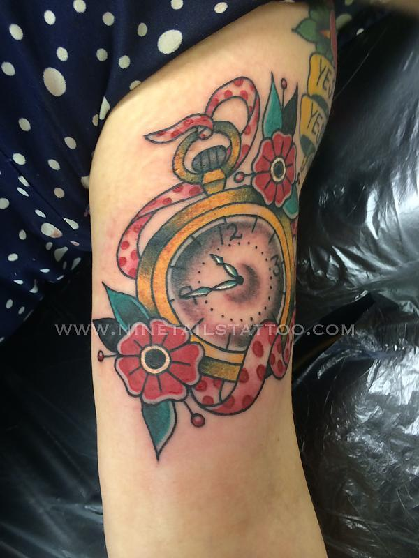 Pocket Watch Tattoo by Chris Lambert