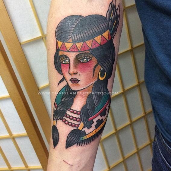 Indian Girl Head Tattoo