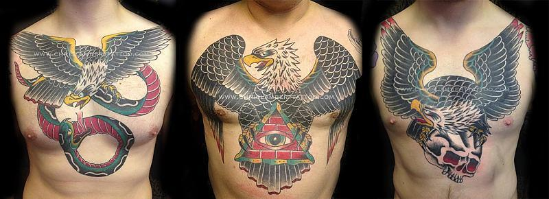 Eagle chest pieces tattooed in 2013