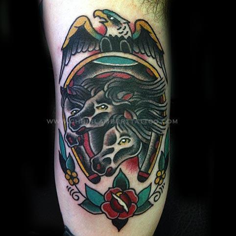Pharaohs horses tattoo under arm