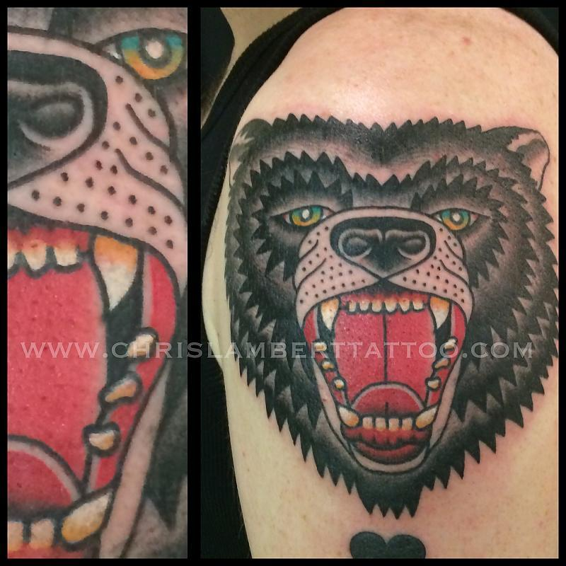 Traditional Bear Head Tattoo By Chris Lambert