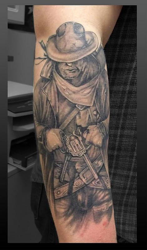 Cowboy tattoo by Frankenshultz Ink