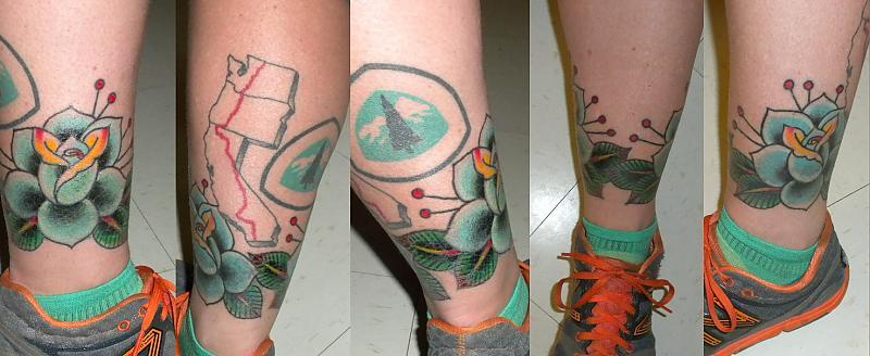 Big blue rose ankle tattoo