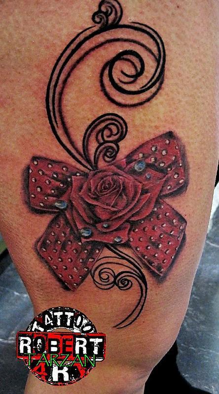 rose bow robert tattoo art