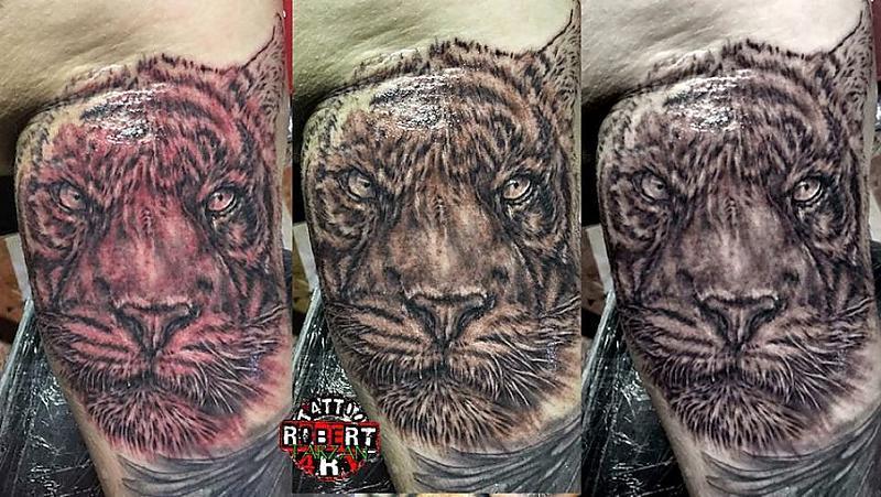tiger edit fresh in progress robert tattoo art