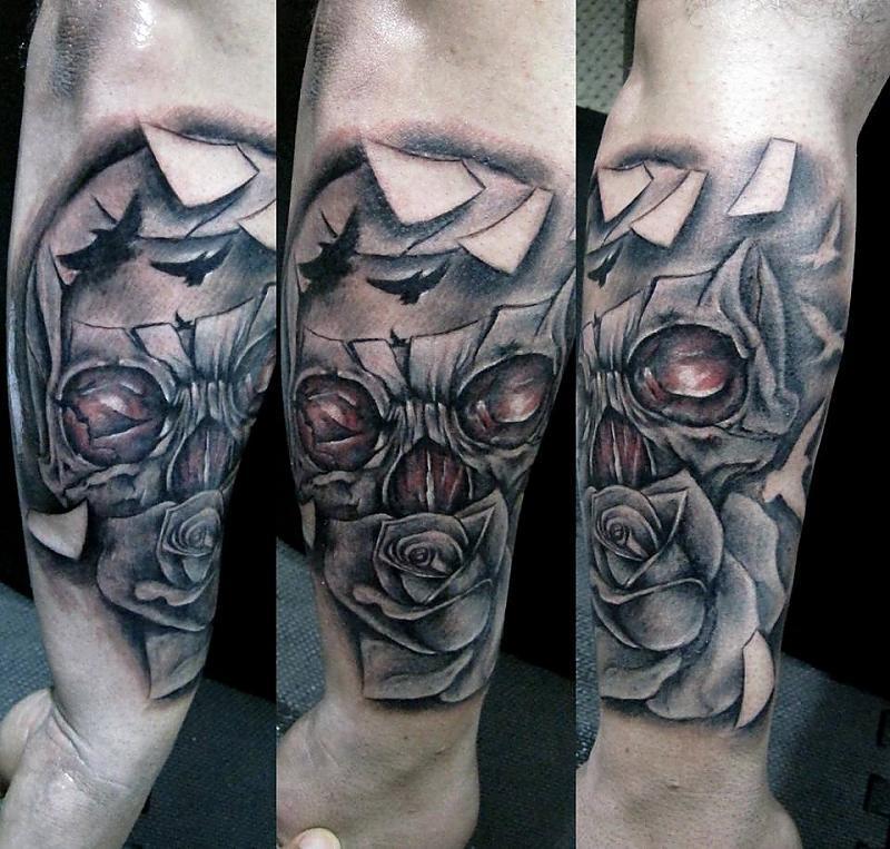 skull rose robert tattoo art