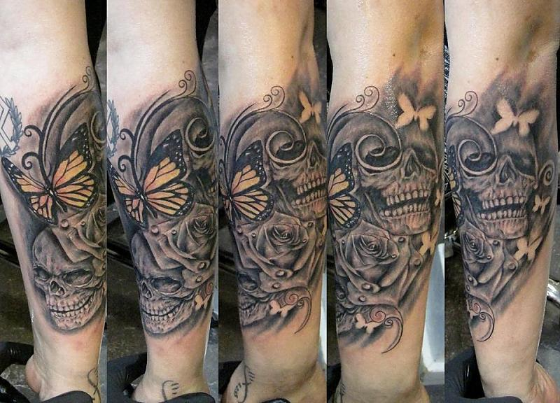 doube skulls rose robert tattoo art