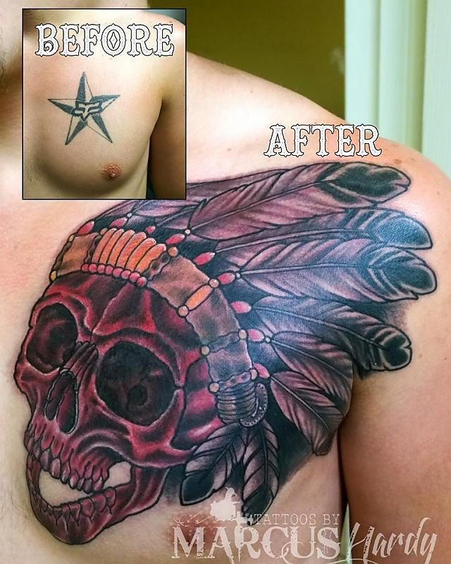 indian skull coverup