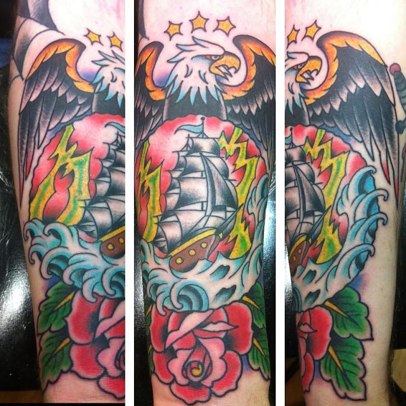 eagle and ship