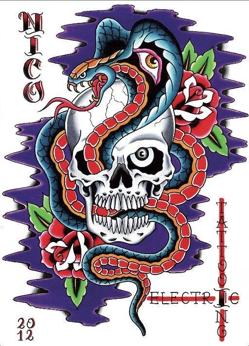 skull and snake banner