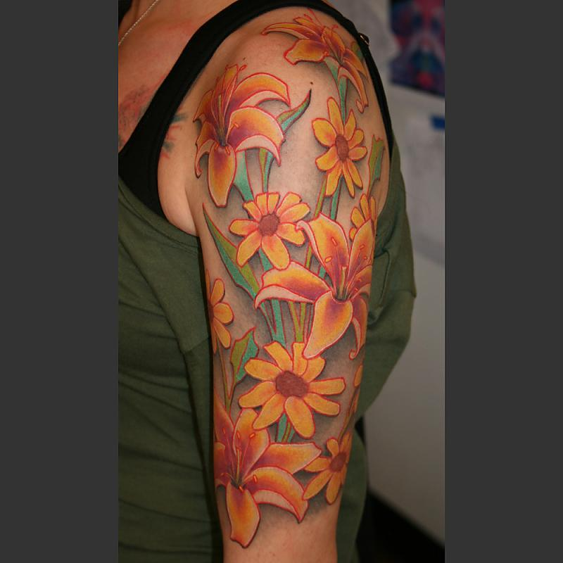 African Daisies and Lilies