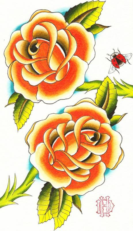 Orange Roses and lady bug