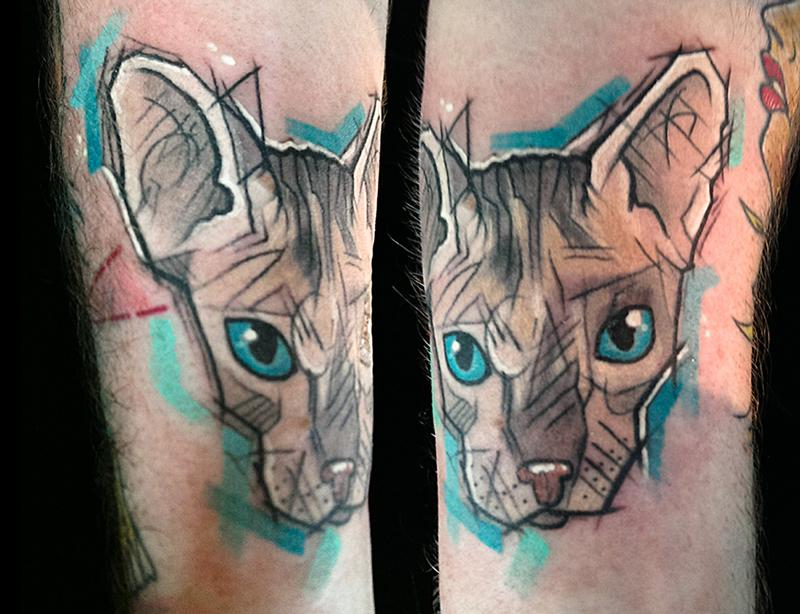 Cat done at the Transilvanian Tattoo Expo 2014