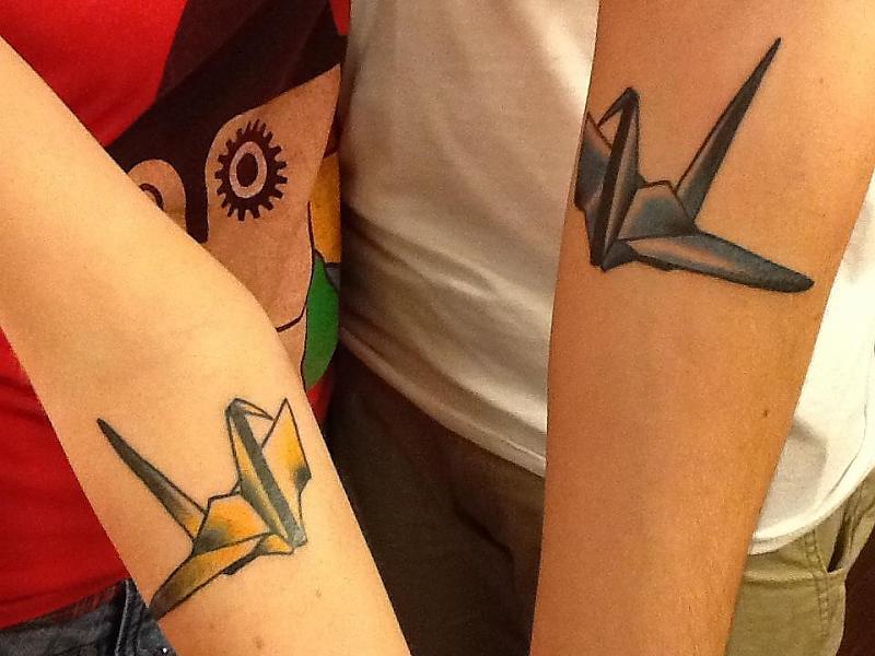 Freshly done origami crane