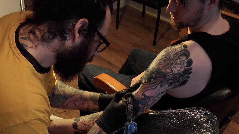 Being Tattooed by Diego