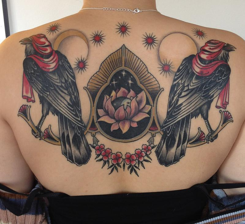 Back (coverup of two symbols and inclusion of lotus done by different artist) by Aron Dubois