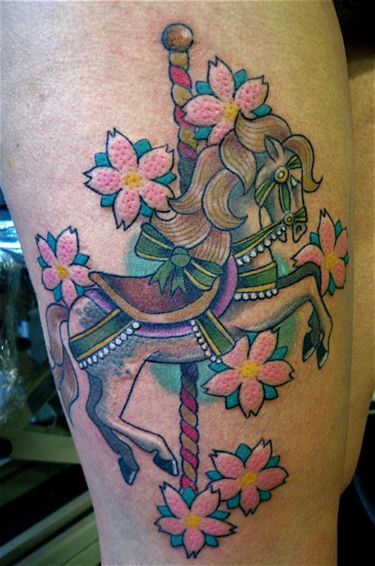 Carousel horse and flowers