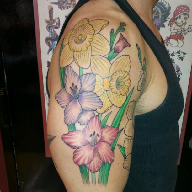 Gladiolus and Daffodils