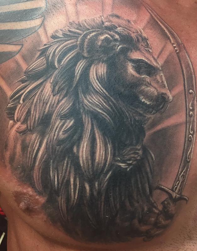 Persian lion sword chest piece