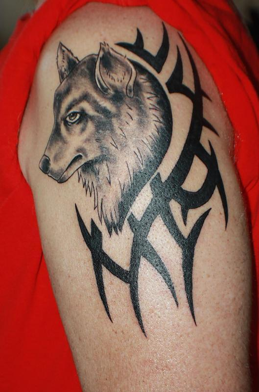 Wolf and Tribal Tattoo