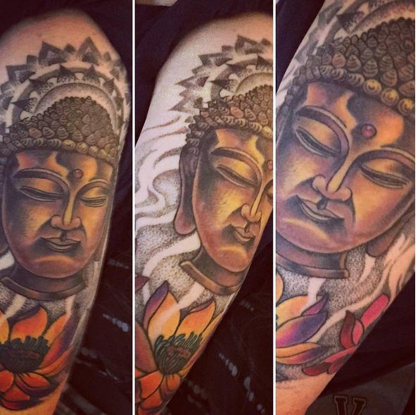 Buddha head with lotuses