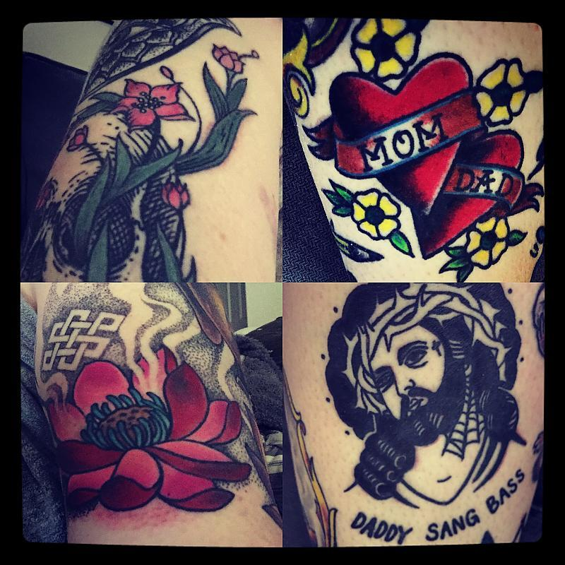 Sailor Jerry Hearts, Mom and Dad, Jensen-isnpired  prison tatt Jesus, floral and lotus closeups