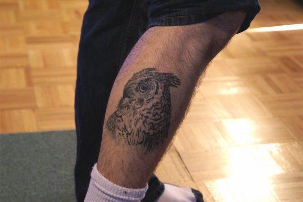 Great Horned Owl on my leg