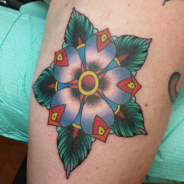 Geometric color bomb flower