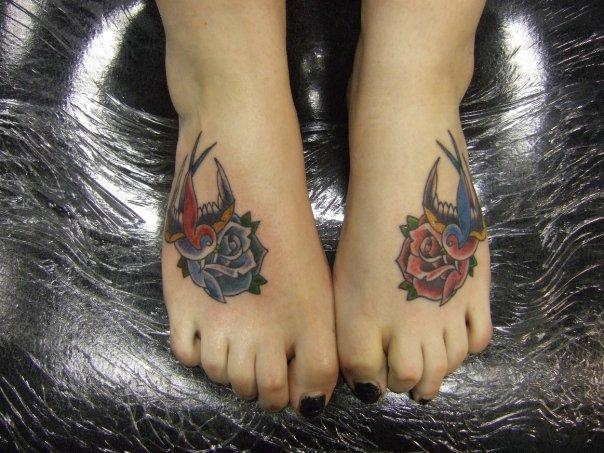 feet roses and birds