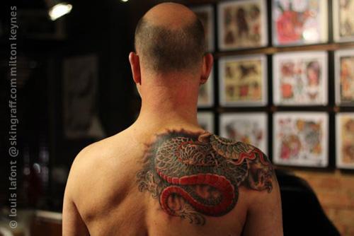 Japanese dragon shoulder tattoo