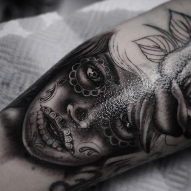 girls head black and grey tattoos