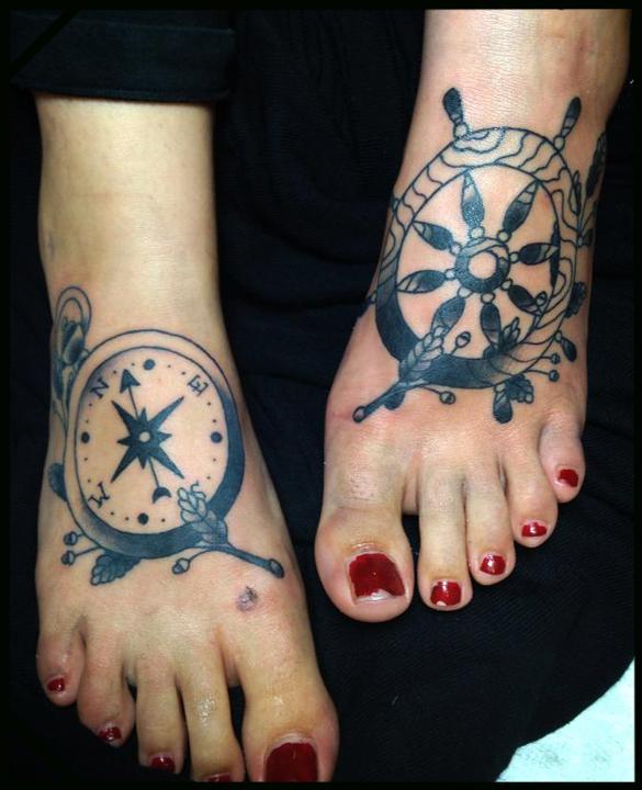ship wheel and compass, Brian Kelly, Rose of No Man's Land Berlin