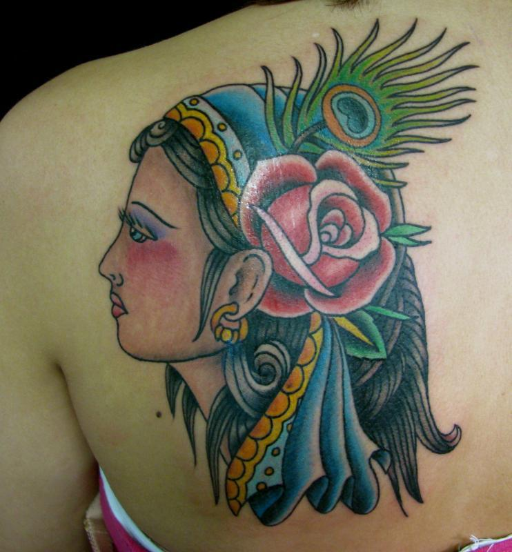 gypsy girl with rose and peacock