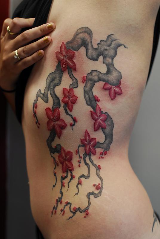 flowers on rib