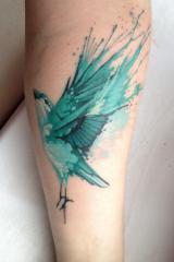 Watercolour sparrow tattoo
