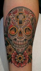 day of the dead skull and flowers