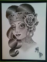 Chola Girl Drawing