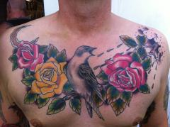Bird and roses chest piece