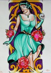 women with skull
