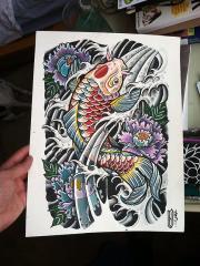 Koi and Peonies Watercolor
