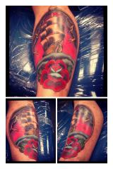 pirate ship rose tattoo
