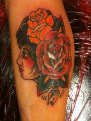 girl head and roses