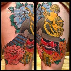 Japanese samurai helmet and peonies tattoo