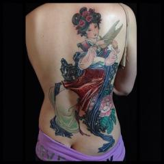 Chinese inspired lady tattoo