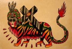 tiger with cross